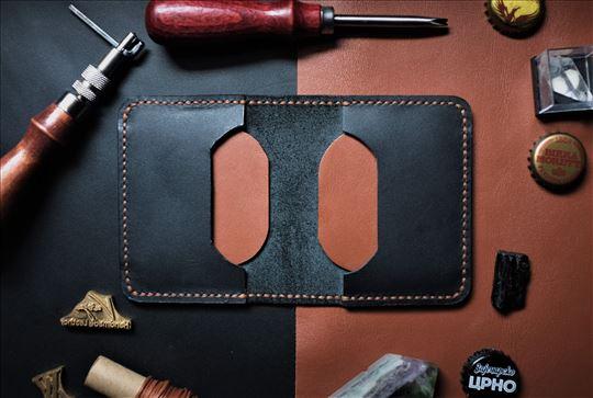Minimalistički kožni novčanik crni braon,ručni rad