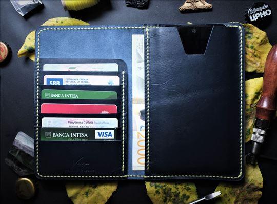 Veći kožni teget novčanik za mobilni i kartice