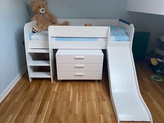 Dečiji krevet sa toboganom+komoda