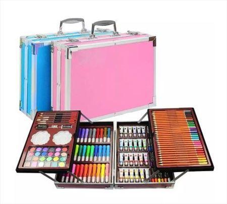 Set sa bojicama-olovkama-temperama u koferu