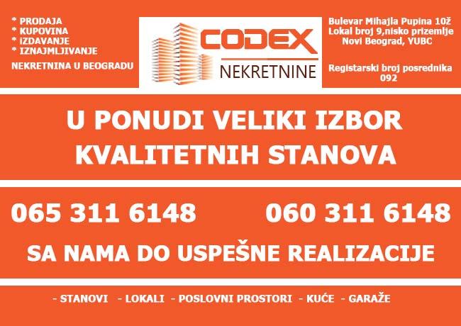 Codex nekretnine • Kupoprodaja nekretnina - Beograd