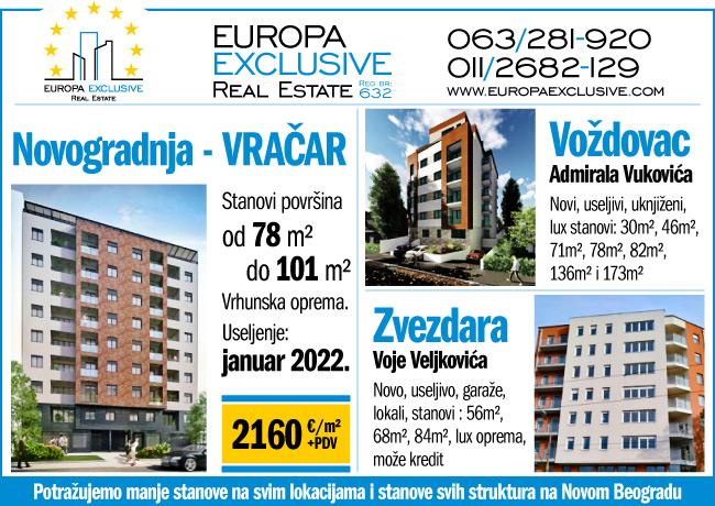 Europa Exclusive nekretnine - Novogradnje na Vračaru, Voždovcu, Zvezdari ...