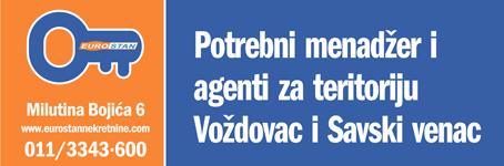 Potrebni menadžer i  agenti za teritoriju  Voždovac i Savski venac