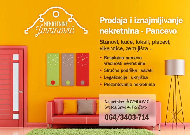 Nekretnine Jovanović • Prodaja i iznajmljivanje nekretnina, Pančevo