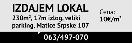 Izdajem lokal sa izlogom / Zvezdara, Matice srpske