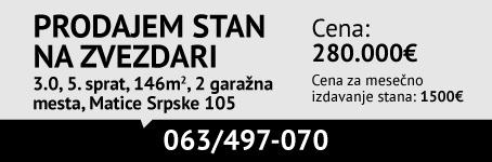 Prodajem/Izdajem trosoban stan, Zvezdara, Matice srpske