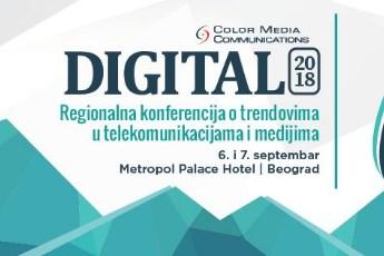 """Peta konferencija o trendovima u telekomunikacijama i medijima """"Digital 2018"""" 6. i 7. septembra"""