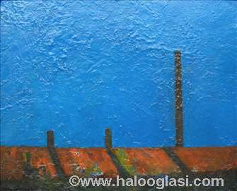 Krovovi, ulje, 48x60cm, uramljena