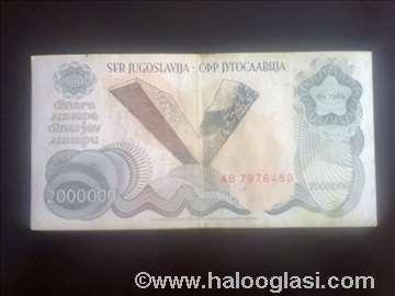 2.000.000 dinara iz 1989.godine retko!