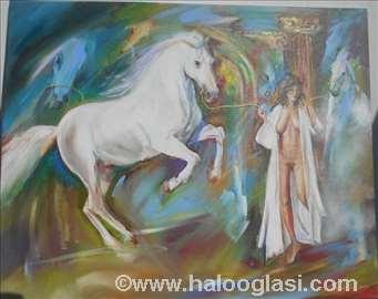 Konj i devojka, ulje na platnu, 80x66cm