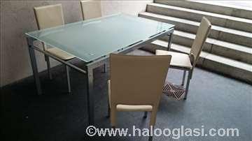 Stakleni sto i kožne stolice uvoz