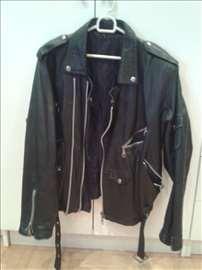 Polovna crna kožna rokerska jakna