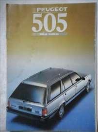 Prospekt Peugeot 505,1988, A4, 33 str, francuski