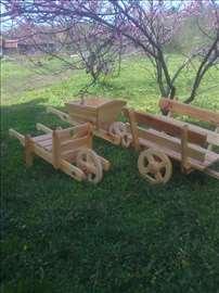 Drvena kolica, ukras za baštu, dvorište, kuću...