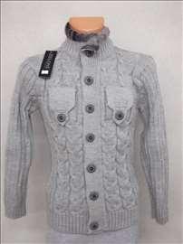 Zeloni crni vuneni džemper