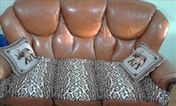 Kožni trosed i fotelja