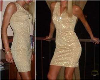 Elegantna zlatna haljina