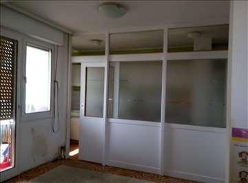 Pregrada panel vrata drvo staklo