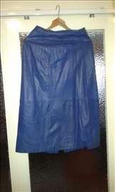 Ženska kožna suknja plava