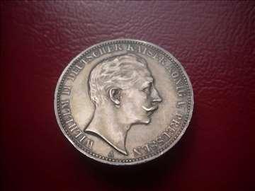 Drei Mark 1911 - Prussia - srebro 16.66