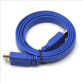 Kabel HDMI na HDMI flat 1,5m plavi