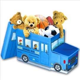Dečiji tabure sa korpom za odlaganje igračaka