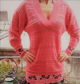 Džemper sa cvetovima - pamučni konac